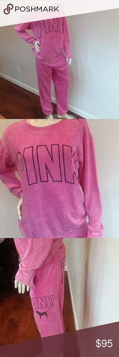 Victoria Secret pink sweats and sweatshirt  and ba Pink tie dye sweater size med and sweats are xs. You get Victoria secret bag also brand new  58.00 price tag on it. PINK Victoria's Secret Sweaters Crew & Scoop Necks
