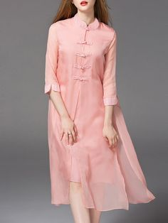 Shop Maxi Dresses - Pink Stand Collar Half Sleeve Jacquard Silk Maxi Dress online. Discover unique designers fashion at StyleWe.com.