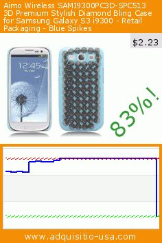 Aimo Wireless SAMI9300PC3D-SPC513 3D Premium Stylish Diamond Bling Case for Samsung Galaxy S3 i9300 - Retail Packaging - Blue Spikes (Wireless Phone Accessory). Drop 83%! Current price $2.23, the previous price was $13.08. https://www.adquisitio-usa.com/aimo-wireless/sami9300pc3d-spc513-3d