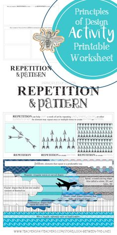 I use my principles of design worksheets in my Introduction to Art class every year. This printable worksheet covers the principle of design, repetition and pattern. #principlesofdesign #repetition #pattern #TPT #art