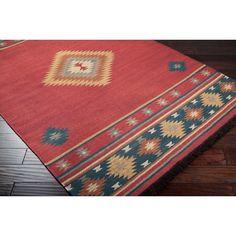 Hand-woven Red Southwestern Aztec Fernie Wool Rug (5' x 8') - Overstock™- possible rug boys' bedroom.