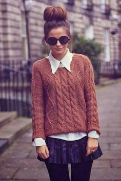 Stylish Brown Sweater with White Classic Shirt and Mini Skirt