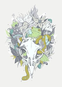 Calm Decay on Threadless Holly Pictures, Skull Illustration, Animals Images, Buy Art, Fine Art Prints, Moose Art, Artsy, Decay, Drawings