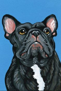 """""""ACEO ATC Original Painting Black Brindle French Bulldog Dog Art-Carla Smale"""" by carla smale. Gouache painting on Paper, Subject: Animals and birds, Impressionistic style, One of a kind artwork, Signed on the back, Size: 6.35 x 8.89 cm (unframed), 2.5 x 3.5 in (unframed), Materials: gouache"""