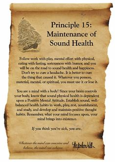 Napoleon Hill Foundation Maintenance of Sound Health scroll