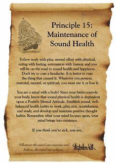 Napoleon Hill Foundation Maintenance of Sound Health scroll