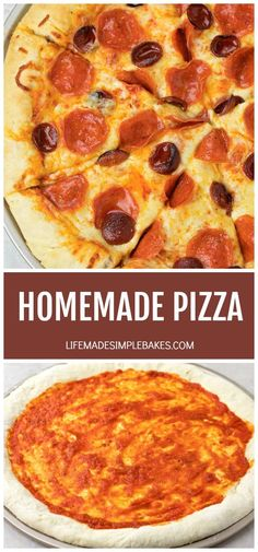 Classic pizza with golden melted cheese, and the most perfect homemade crust! This crust is pillowy soft but also crispy in all the right places!  #homemadepizza #homemadepizzarecipe #classicpizza #crispypizza #fluffypizzacrust