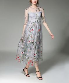 Another great find on #zulily! Gray Floral Sheer-Overlay Midi Dress #zulilyfinds