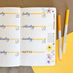 Check out my new weekly spread stickers in use! 💛 I love the way this turned . Bullet Journal Weekly Layout, Bullet Journal Writing, Bullet Journal School, Bullet Journal Aesthetic, Bullet Journal Spread, Bullet Journal Inspiration, Journal Ideas, Bullet Journals, Bujo
