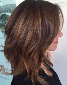 wavy volume brown lob side parting
