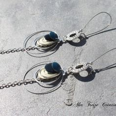 Bijou créateur - boucles d'oreilles dormeuses argentées antiques créoles breloques sequins émaillés crème noir et bleu canard