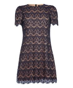 Look what I found on #zulily! Navy & Brown Lace Dress #zulilyfinds
