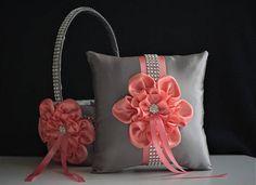 Coral Gray Basket Gray Coral Wedding Basket Coral Flower