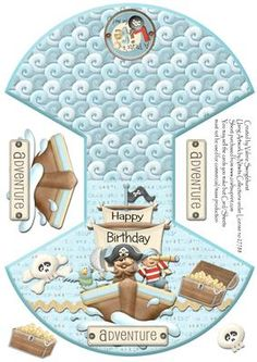 Pirate Happy Birthday Adventure Rocker Wobble Card on Craftsuprint designed by Valerie Swinglehurst - A Rocker/Wobble Card for a little Pirate on his Happy Birthday Adventure - Now available for download!