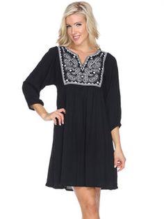 Black Paisley 3/4 Sleeve Shift Embroidered Gauzy Holiday Dress