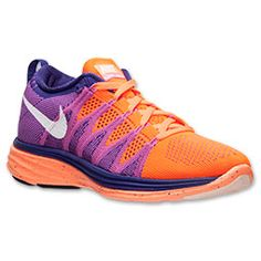 Women's Nike Flyknit Lunar2 Running Shoes| FinishLine.com | Atomic Orange/White/Court Purple