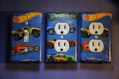 Hot Wheels 3 pc Set Light Switch Cover boys kids room child decor cars