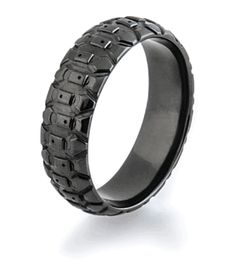 All Black Tread Ring, Dirt Bike Rings - Titanium-Buzz.com