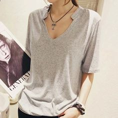 Solid t shirt Summer Women Top Short Sleeve V Neck  tshirt Casual Loose Style Plus Size Black/White/Gray Tops Tee Shirt Femme A6