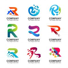 Collection Of Letter R Logo In Various Variations Modern Logo Design, Custom Logo Design, Custom Logos, Collection Letter, Rainbow Logo, Best Resume Template, Personal Logo, Lettering, Letter Logo