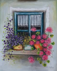 Window with Flowers, Original Handmade Acrylic Painting on canvas, Painted flowers, Blue window, Col Acrylic Painting Canvas, Painting On Wood, Watercolor Paintings, Watercolor Artists, Watercolor Pencils, Watercolor Techniques, Abstract Paintings, Oil Paintings, Landscape Paintings
