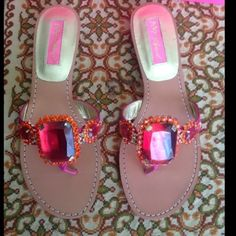 """New BETSEY JOHNSON FUSHIA PINK JEWEL SANDALS Flirty jewel slip on sandal Fabric upper Leather sole Approx 3/4"""" heel Made in China Brand: Betsey Johnson Color: Pink Size: 6.5 M Condition: New in original box Betsey Johnson Shoes Sandals"""