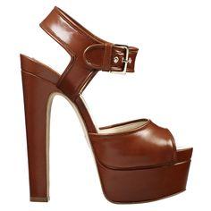Brian Atwood 'Karin' Brown Platform Sandals Resort 2014 #Shoes #Heels