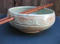 It would be worth learning to use chopsticks if I had this! Green Rice, Rice Bowls, Chopsticks, Mortar And Pestle, Learning, Unique Jewelry, Handmade Gifts, Etsy, Kid Craft Gifts