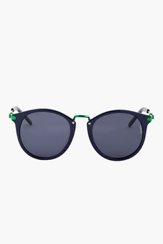 Kenzo Navy Round Tear-drop Frame Sunglasses for men