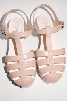 "you must have Jelly Jesus looking shoes at least buy CHANEL right,"" Goop. Jelly Shoes, Jelly Sandals, Shoes Sandals, Heels, Nude Sandals, Neutral Sandals, Flats, Mode Shoes, Chanel Shoes"
