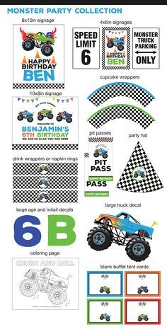 DIGITAL FILES Party Kit: Monster Truck Decorations Party Kit