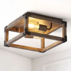 Our square open ceiling light is ideal for your modern farmhouse, rustic kitchen or industrial interior design. Features two Edison-style LED bulbs inside a barnwood-finished frame, accented with oil rubbed bronze. This rustic light fixture is perfect for the living room, kitchen, entry, hallway or bedroom. Rustic Light Fixtures, Living Room Light Fixtures, Rustic Lighting, Living Room Lighting, Lighting Ideas, Open Ceiling, Led Recessed Ceiling Lights, Ceiling Fan, Rustic Kitchen