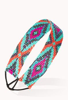 Forever 21 - Multicolor Out West Beaded Headband Bead Loom Patterns, Beading Patterns, Beading Ideas, Beaded Earrings, Beaded Jewelry, Beaded Necklaces, Best Friend Jewelry, Bead Loom Bracelets, Hair Beads