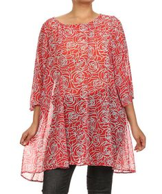 Love this Red Sheer Rosette Tunic - Plus by Come N See on #zulily! #zulilyfinds