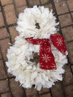 Snowman wreath, burlap rag wreath, Christmas wreath, snow wreath, winter wreath by BurlapMamas on Etsy https://www.etsy.com/listing/213033561/snowman-wreath-burlap-rag-wreath