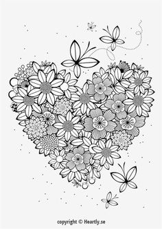 Floral Heart Coloring Page Book
