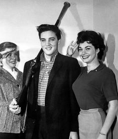 Elvis Presley with Dolores Hart (saluting) ~ on the set of King Creole ~ 1958