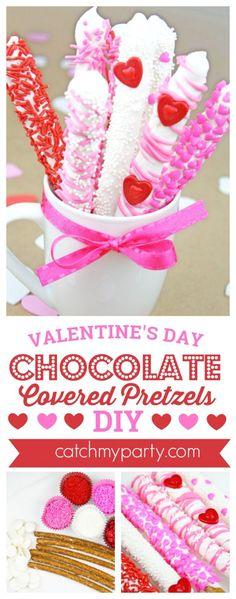 Valentine's Day Chocolate Covered Pretzels DIY | CatchMyParty.com #valentinesdaytreat #valentinesdaydessert #valentinesdayparty