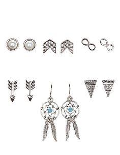 Dreamcatcher & Boho Stud Earrings - 6 Pack: Charlotte Russe #earrings