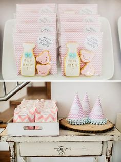 Adorable Milk and Cookies Birthday Party: Cookie Favors