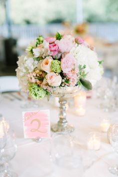 Beautiful centerpieces: http://www.stylemepretty.com/2015/07/22/romantic-summer-wedding-at-calamigos-ranch/ | Photography: Koman Photography - http://komanphotography.com/