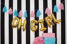 Oh Girl Rose Gold balloons  silver mylar foil letter balloon
