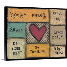 Lisa Larson Premium Thick-Wrap Canvas Wall Art Print entitled House Rules, None Canvas Wall Art, Wall Art Prints, Poster Prints, Canvas Prints, Canvas Paintings, Thing 1, Contemporary Wall Decor, Vintage Canvas, House Rules