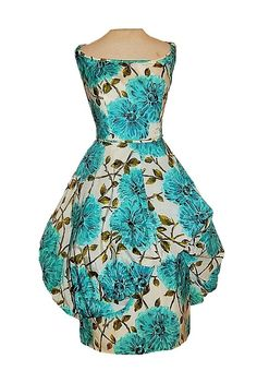 Vintage 50's Aqua FLORAL Garden Print Taffeta Couture BUBBLE Skirt Party Dress