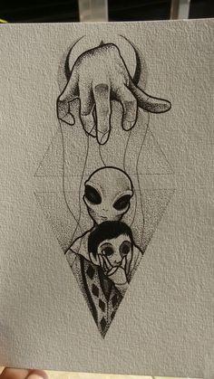 On est que des pantin - Astronomy&Alien 2020 Alien Drawings, Dark Art Drawings, Tattoo Design Drawings, Pencil Art Drawings, Art Drawings Sketches, Tattoo Sketches, Tattoo Designs, Bild Tattoos, Body Art Tattoos
