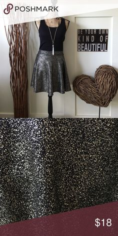Shimmery metallic skater skirt This cute elastic waist skater style skirt has metallic gold and silver tones.  Casual or dressy. Skirts Mini
