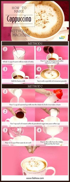 How you can make the best cappuccino at home in 5 minutes without a machine. Whether it's beyond your budget or you're short on space, there can be an array of reasons for not owning a cappuccino machine. A cappuccino machine is one of those. How To Make Cappuccino, Cappuccino Recipe, Cappuccino Maker, Cappuccino Machine, Latte Recipe, Percolator Coffee Maker, French Press Coffee Maker, Italian Coffee, Vegans
