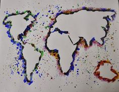 artisan des arts: Splatter negative space maps - grade geography/social studies link This would be a fun way to show a map of a country being studied. Could probably tie in Jasper Johns' Map. Middle School Geography, Geography For Kids, Geography Map, Middle School Art, Geography Revision, Human Geography, Geography Activities, Geography Lessons, Teaching Geography