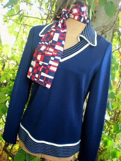Hey, I found this really awesome Etsy listing at https://www.etsy.com/listing/104028544/navy-blue-double-knit-womens-top-by