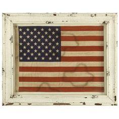 Wood Framed Fabric USA Flag-1